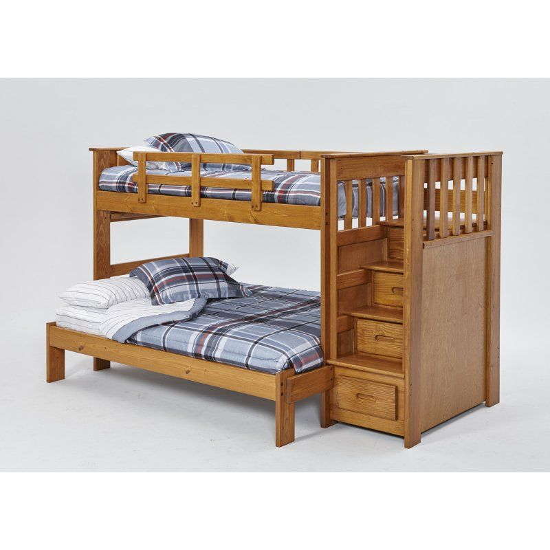 Woodcrest Heartland Twin Full Front Load Stairway Bunk Bed Tfwc400 Sl