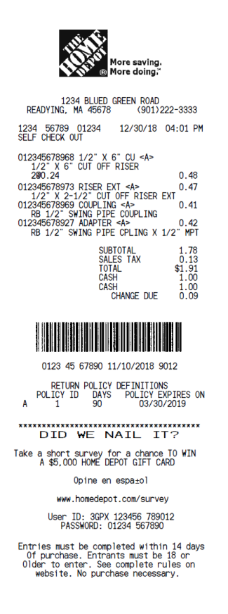 Home Depot Invoice Template The Home Depot Receipt Template Receipt Font Real Invoice In 2020 Receipt Template Invoice Template Templates