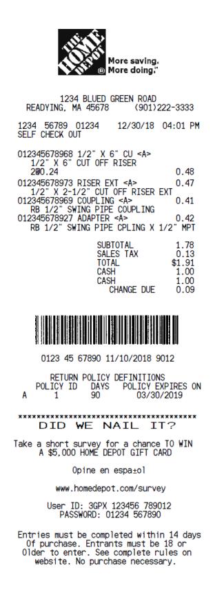 Home Depot Receipt Generator : depot, receipt, generator, Depot