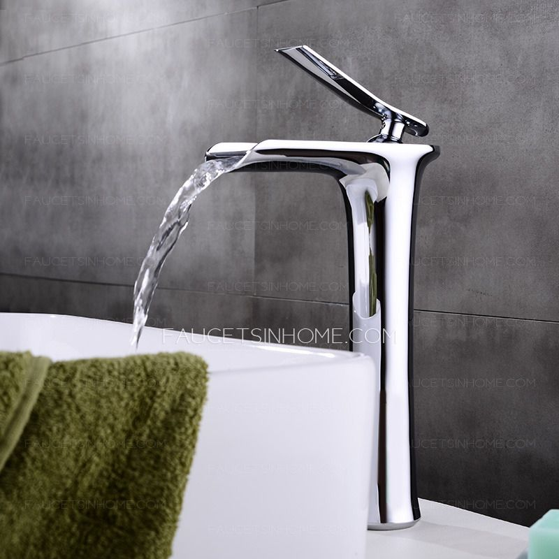 High End Copper Tall Vessel Waterfall Bathroom Sink Faucet ...