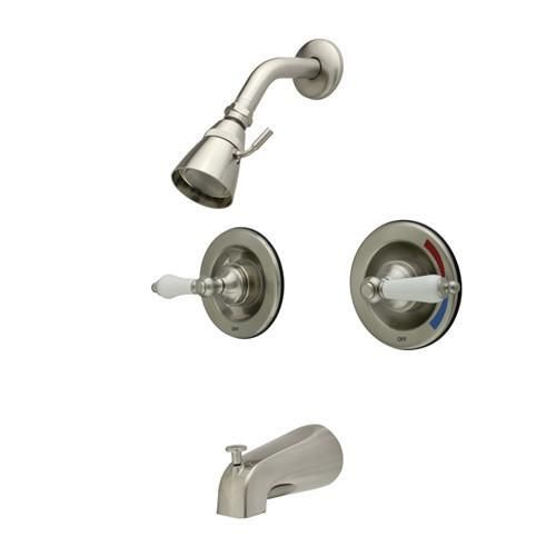 Kingston Brass Satin Nickel 2 Handle Tub And Shower Combination Faucet  KB668PL
