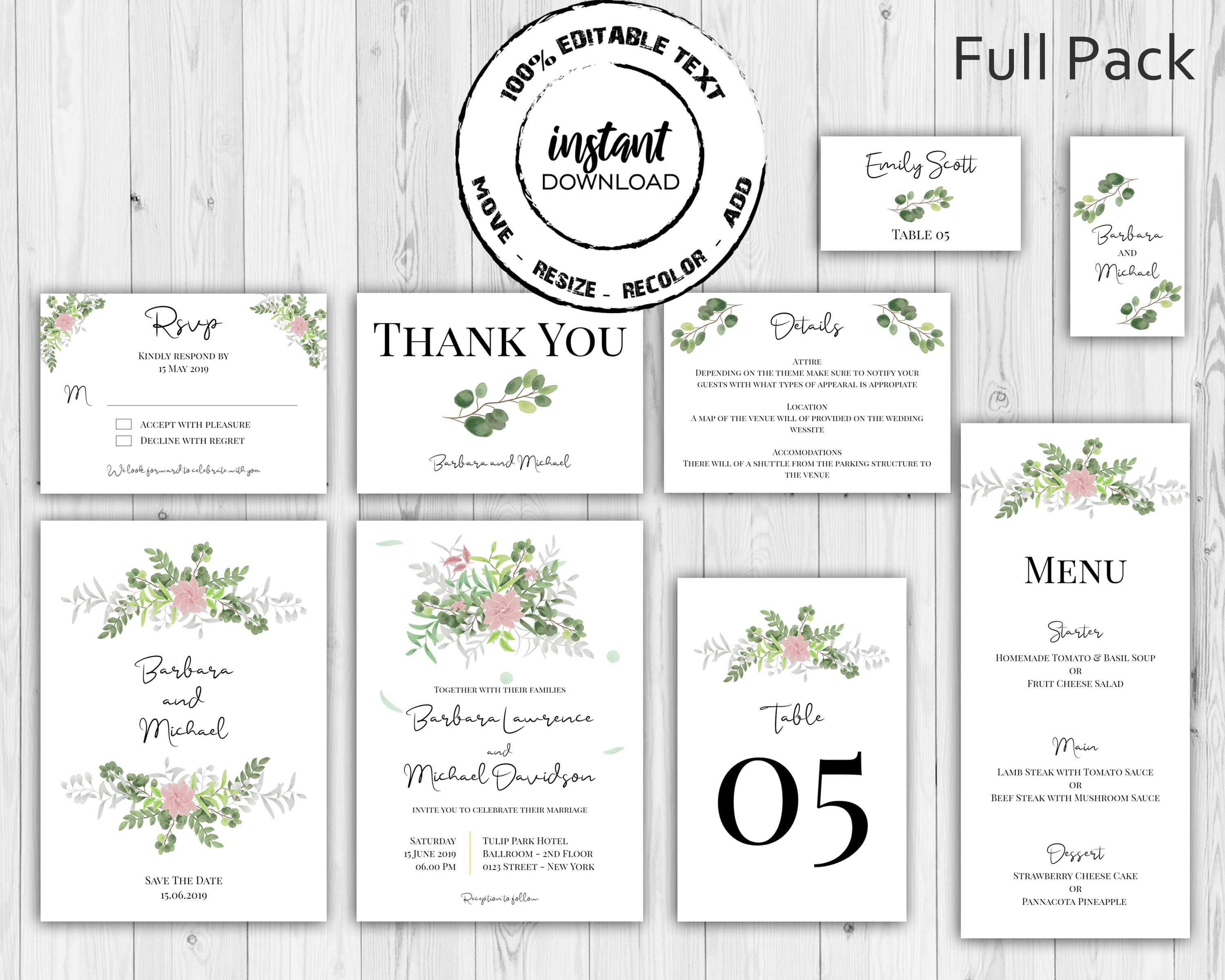 Watercolor Floral Wedding Invitation Full Pack Template Kit With