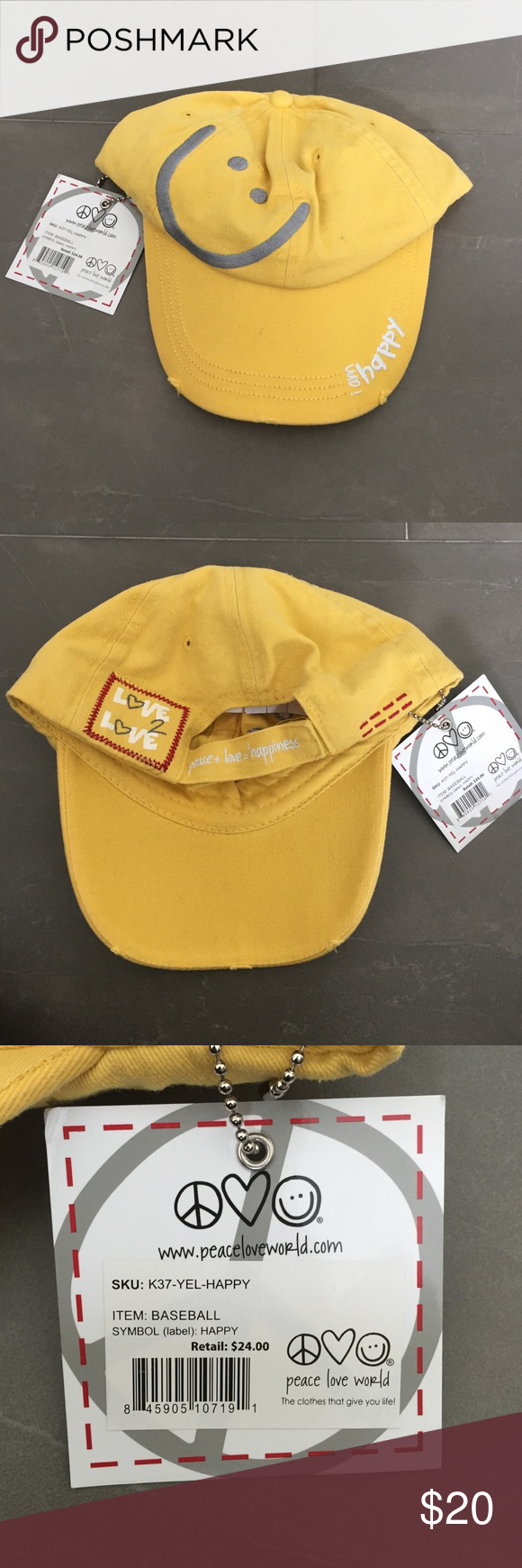 Peace Love World Kids Baseball Hat Yellow Happy Baseball Hat One Size Fits All Never Been Worn Can Be For Boy Or Girl Peace Love World Accessories Hats