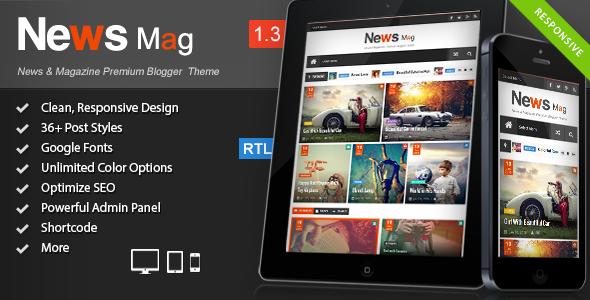 News Mag Responsive Magazine Blogger Template Blogger Blogging