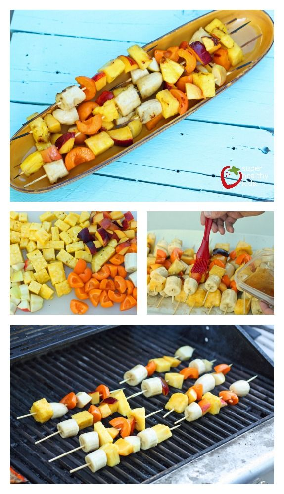 Grilled Coconut Glazed Fruit Kabobs.  You won't want to miss this recipe! www.superhealthykids.com