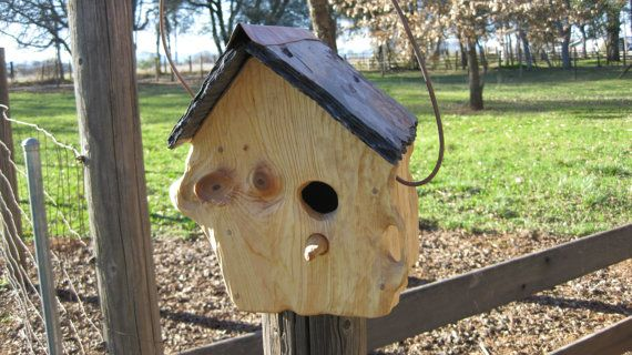 This Is A Beautiful Unique And Rustic One Of A Kind Hand Crafted Birdhouse It Is Sculpted Pine With A Slat With Images Birdhouses Rustic Bird Houses Birdhouse Projects