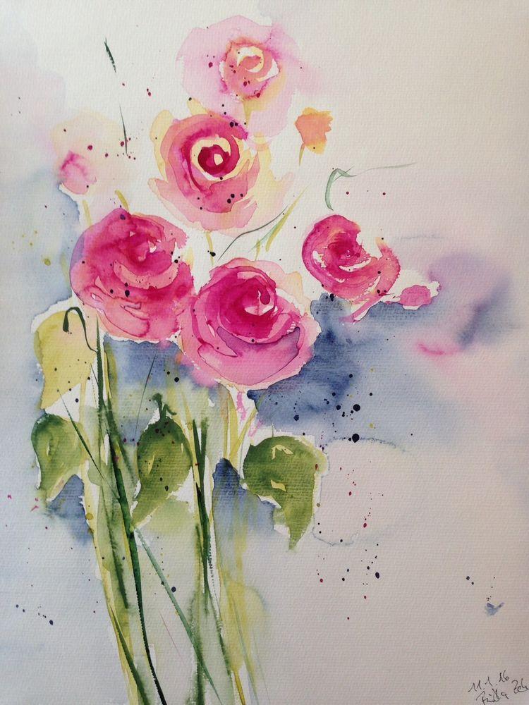 Aquarell Rosen Blumen 30 X 40 Cm Bild Kunst Unikat