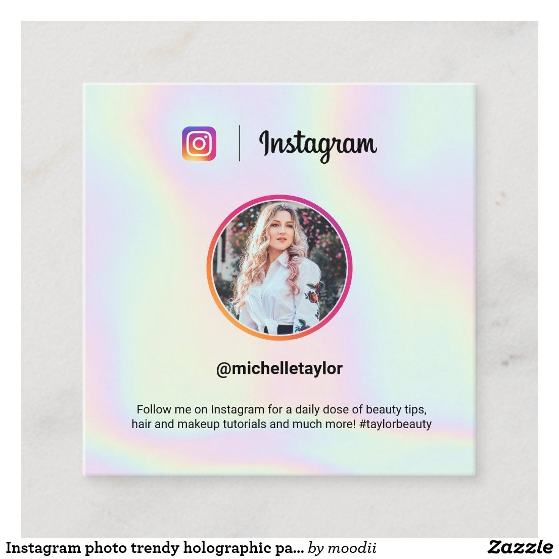Instagram Photo Trendy Holographic Pastel Rainbow Calling Card Zazzle Com In 2020 Photo Business Cards Calling Cards Social Media Business Cards