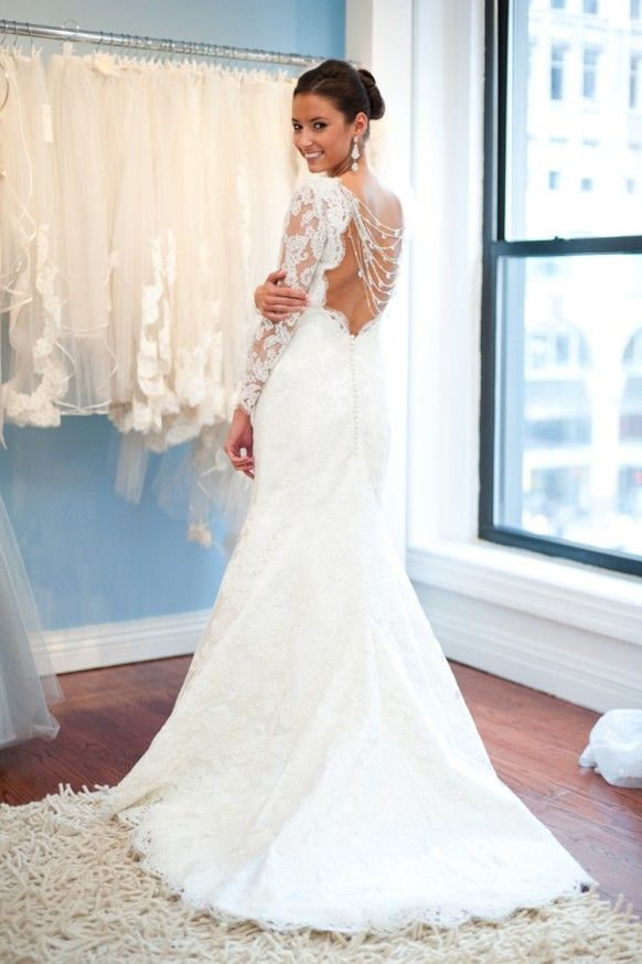 White French Lace Open Back Wedding Gown With Back Buttons ♥ Long ...