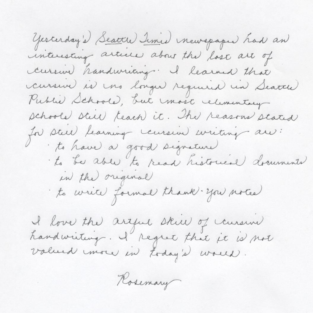 Perfect Cursive Handwriting