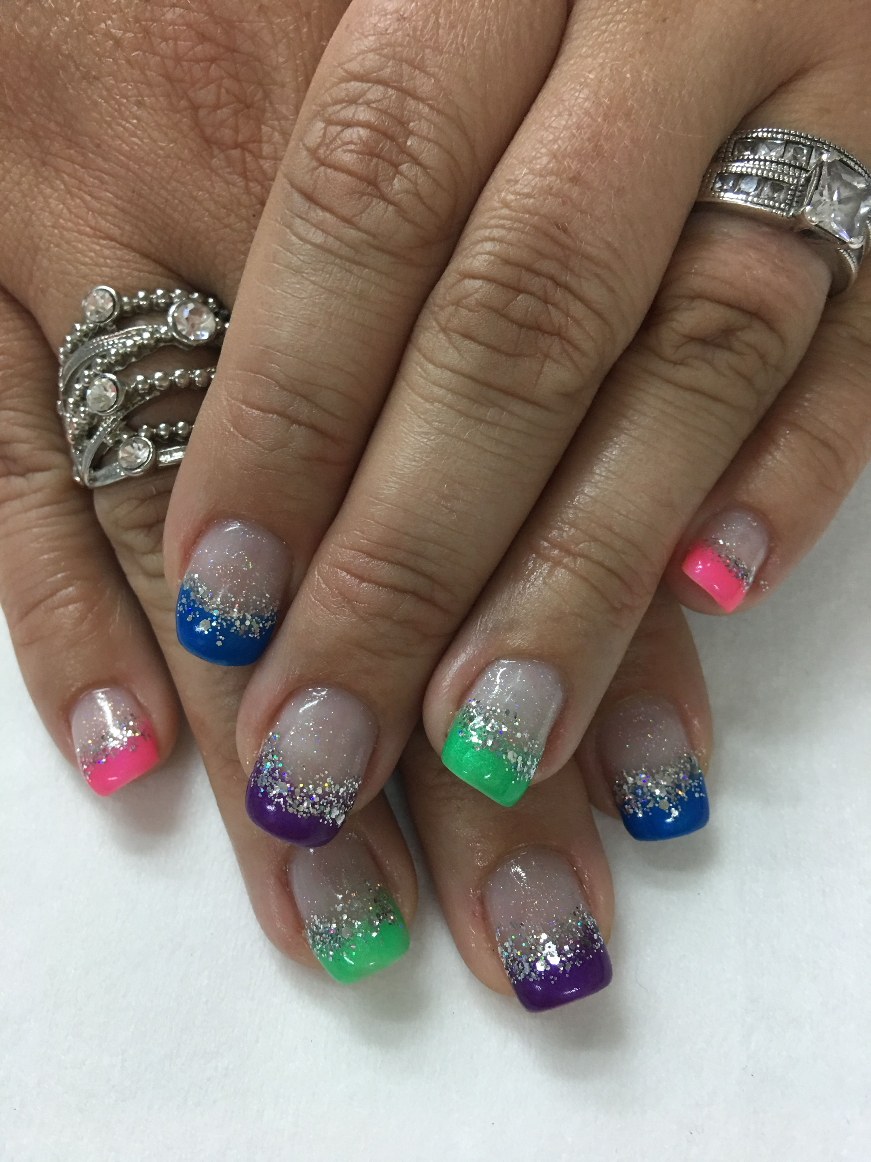 Bright Neon Summer Chunky Glitter French Gel Nails Glitter French Nails French Nail Designs French Nails