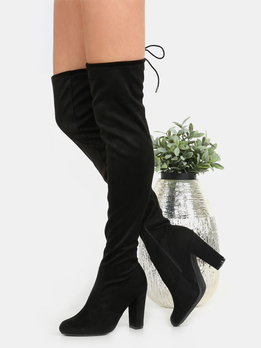 3246195965 Shop Chunky Heel Suede Thigh Boots BLACK online. SheIn offers Chunky Heel  Suede Thigh Boots BLACK & more to fit your fashionable needs.