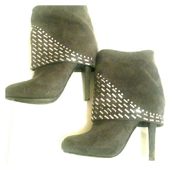 Convertible studded Charcoal colored booties/boots These are convertible booties that can be folded down to be studded booties or extended into boots! ?? Price negotiable! Forever Shoes Ankle Boots & Booties