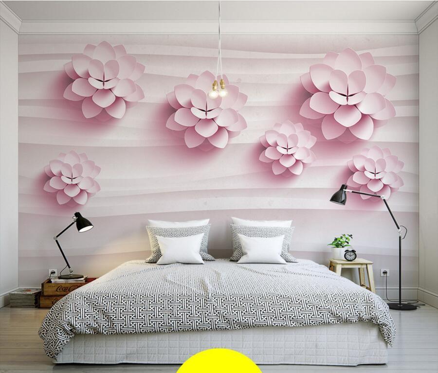 Barato personalizado 3d murais 3d quente est reo flores for Papel de pared barato
