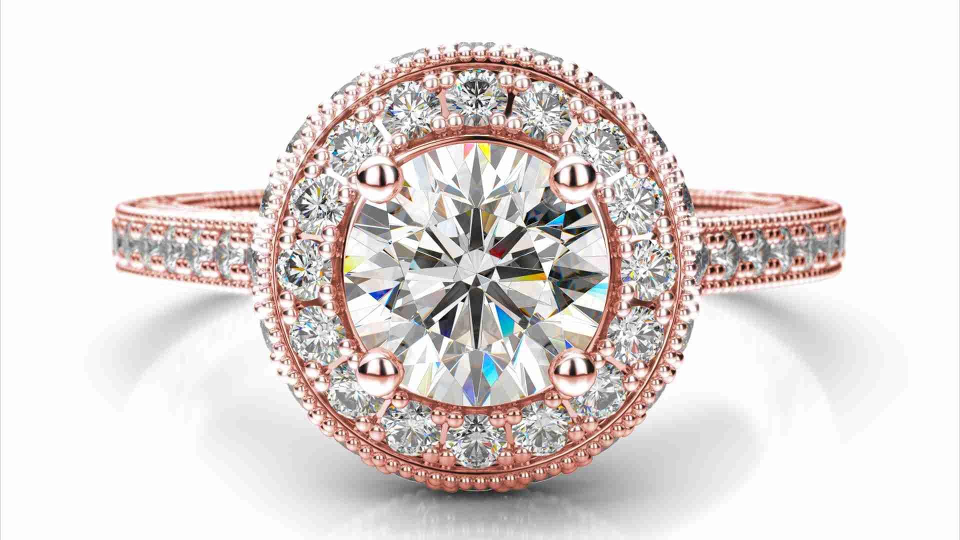 275a80e02 Zlatý zásnubný prsteň ALLIZA ružové zlato 14 karátové briliant okrúhly halo