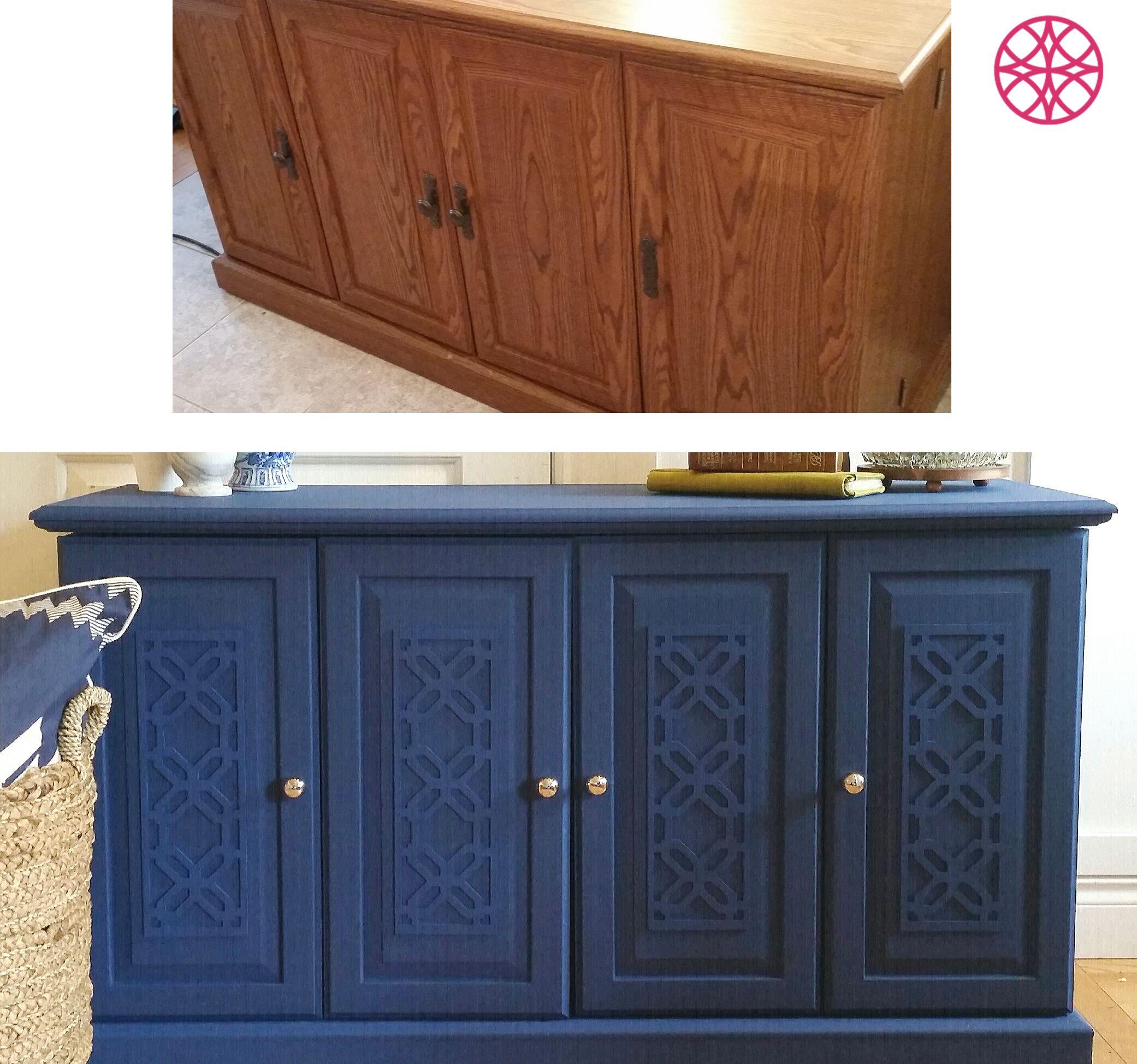 Find My Furniture: O'verlays Gigi Panel On A Yard Sale Find Painted Navy Blue