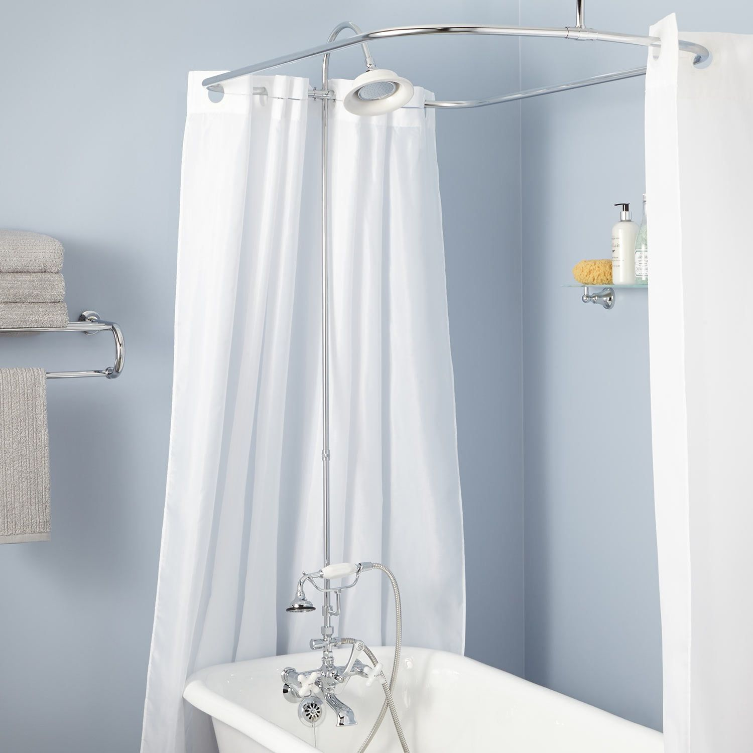 Rim Mount Clawfoot Tub Hand Shower Kit Swing Arms D Style