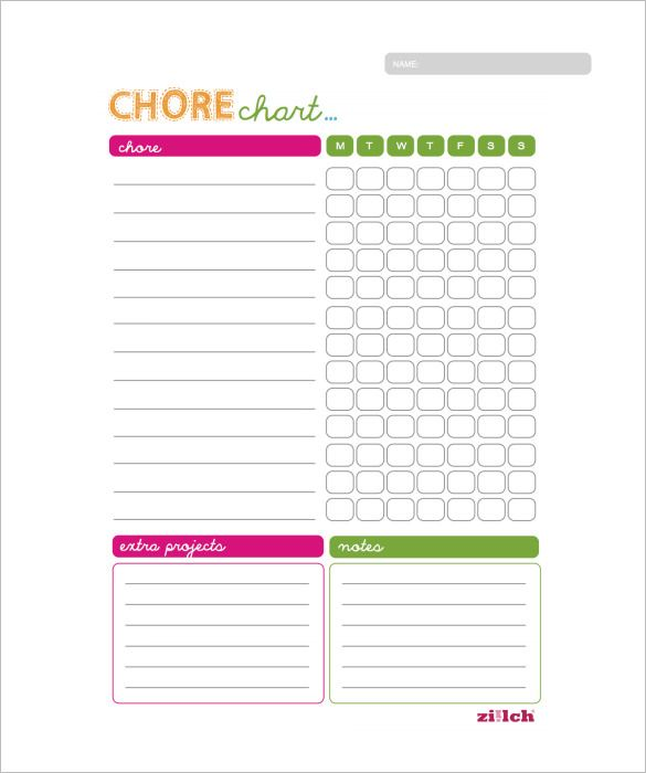 Weekly Chore Chart Template   Free Word Excel Pdf Format