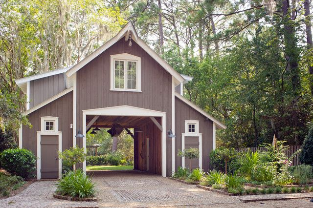 Exterior rustic detached garage design in the forest for Detached carport designs
