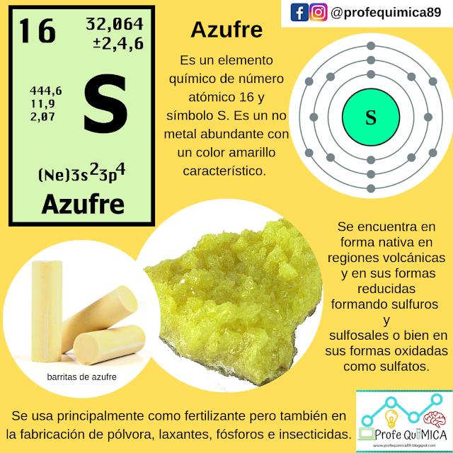 Profequímica Azufre S Enseñanza De Química Tabla Periodica De Los Elementos Quimicos Notas De Química