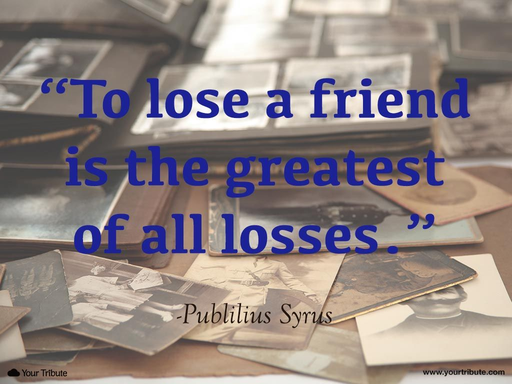 Quote Publilius Syrus To Lose A Friend Is The Greatest Of All Losses Lossoffriend Quotes Grief Losing Friends Quotes Losing Friends Friends Quotes
