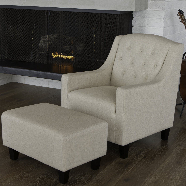 Empierre Beige Linen Club Chair Footstool Set Accent