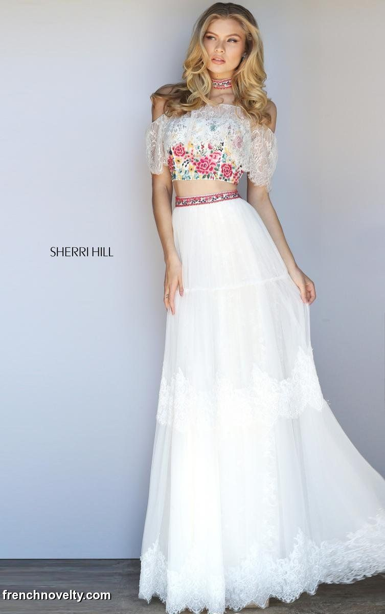 25a24a1a0c2 Sherri Hill 51022 is a 2-piece prom dress with an embroidered crop top with  off the shoulder lace and matching choker and skirt with lace detail.