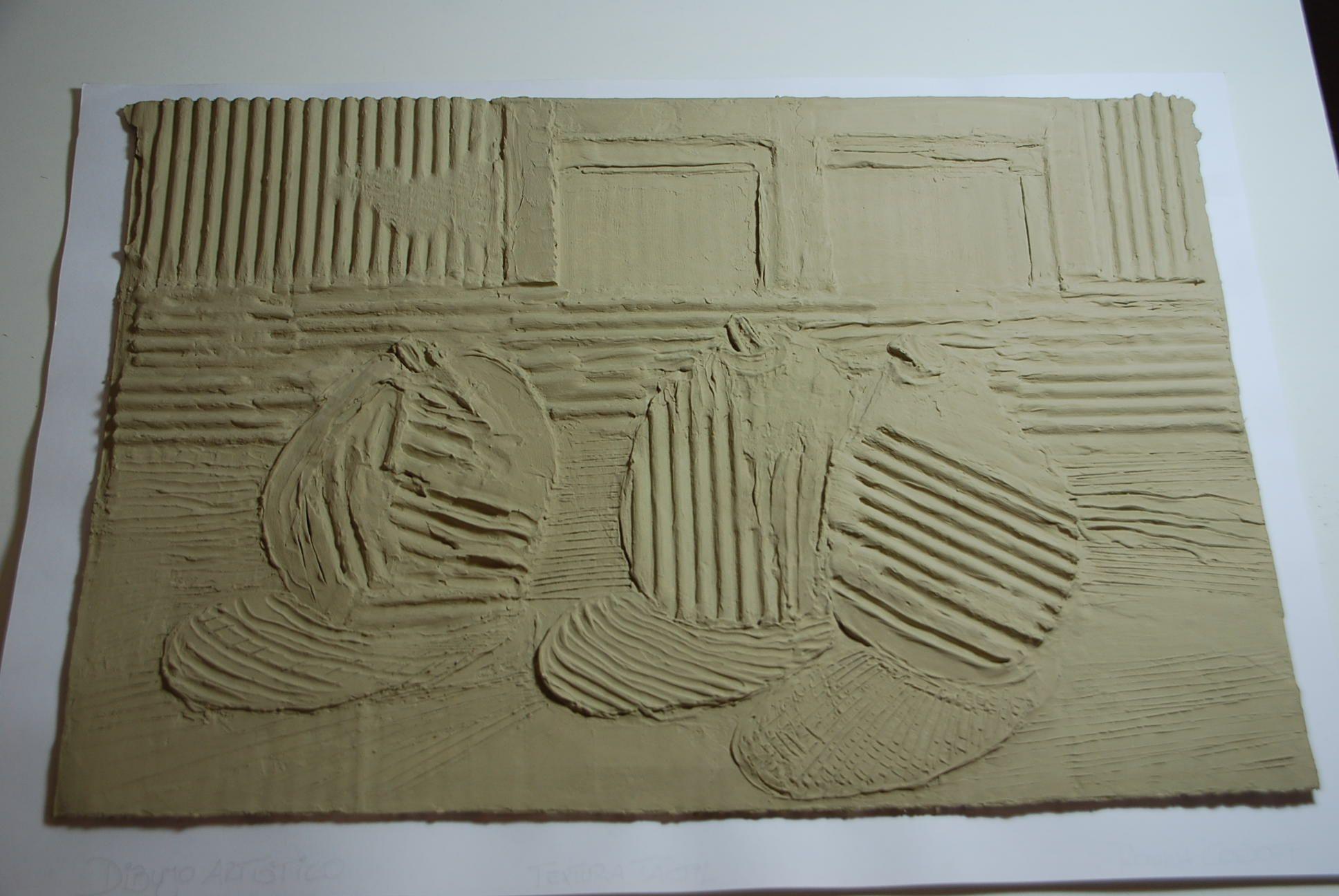 Textura con enduído y cartones.