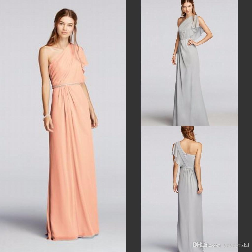 One Shoulder Bridesmaid Dresses Chiffon Bridesmaid Dress Long ...