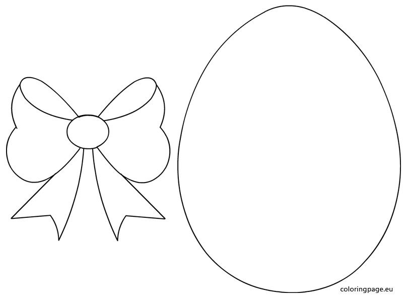 Easter Egg With Bow Template Coloring Page Easter Coloring Book Easter Templates Easter Colouring