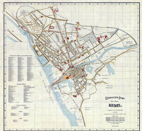 Memel 1903 Übersichts-Plan der Stadt Memel. Herausgegeb ...