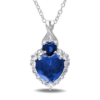 Miadora silver created blue and white sapphire and diamond accent miadora silver created blue and white sapphire and diamond accent heart necklace aloadofball Image collections