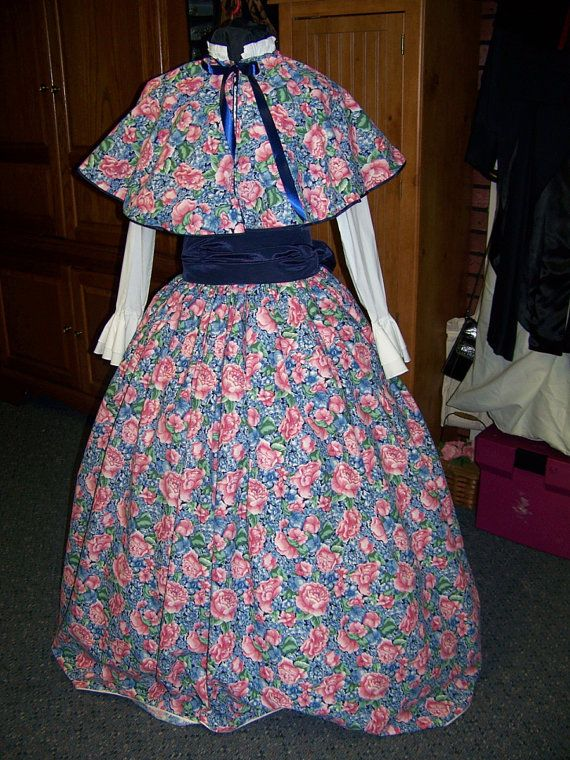 Civil War Dress Long SKIRT with Cape and Sash one size fit all Navy and Pink Floral Handmade #dressesfromthesouthernbelleera