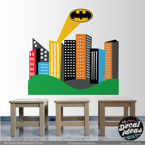 Gotham City Skyline Wall Decal Printed City Skyline Decal - Superhero wall decals for kids roomssuperhero wall decal etsy