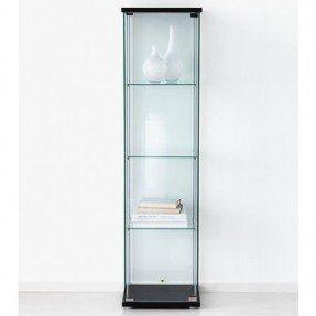 Ikea Detolf Glass Curio Display Cabinet Black Lockable Light And