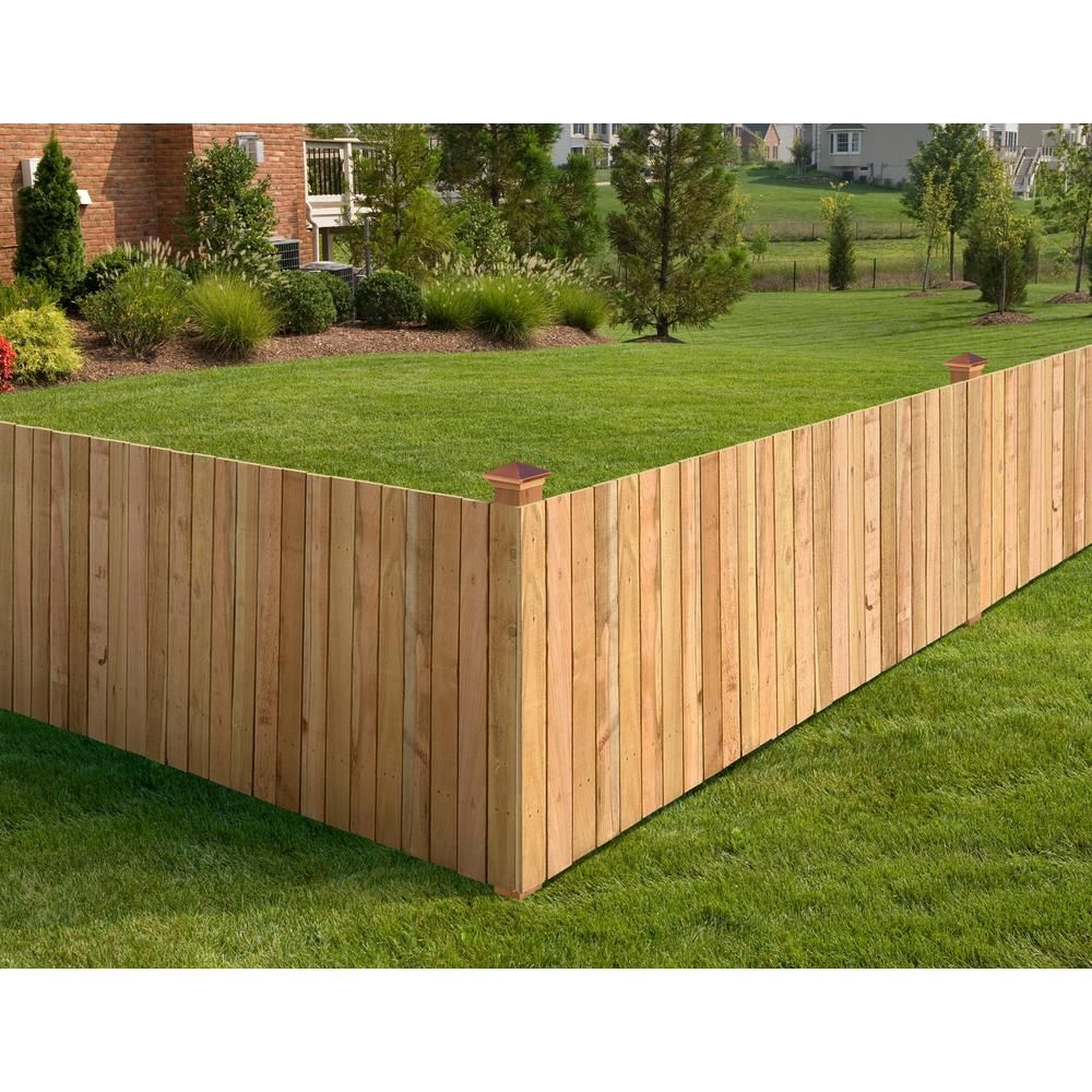 Outdoor Essentials 3 1 2 Ft X 8 Ft Western Red Cedar Privacy Flat Top Fence Panel Kit 241287 The Home Depot Building A Fence Fence Design Outdoor Essentials