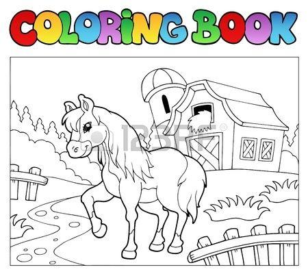 Libro para colorear con granja y caballo   caballos para imprimir ...