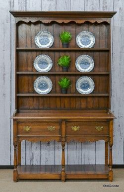 Beautiful French Country Style China Cabinet With Open Plate Rack Hutch Base Has 2 Drawers And An Shelf 3 Racks