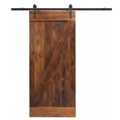 Tms Paneled Wood Primed Knotty Barn Door Without Installation