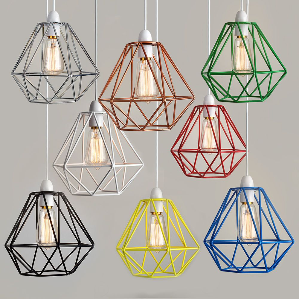 Wiring A Ceiling Rose Modern Industrial Caged Metal Pendant Light Shade Vintage Style Wire Frame Shades Squirrel Cage Bulb In Home Furniture Diy Lighting Lampshades Lightshades Ebay
