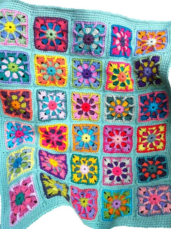 Crochet Baby Blanket Crochet Baby Afghan Handmade Granny Square Baby