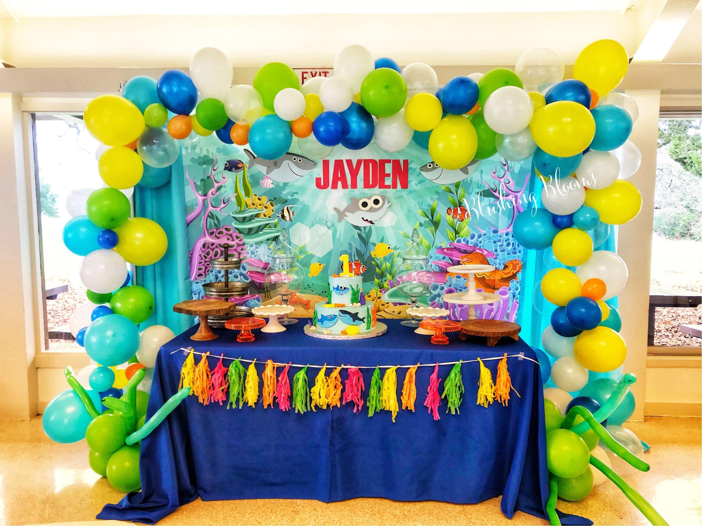 Baby Shark Cake Table Shark Party Decorations Cake Table Birthday Shark Birthday Cakes
