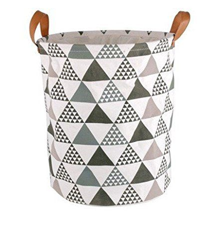 Fabric Laundry Basket With Pu Handles Storage Basket 100 Cotton