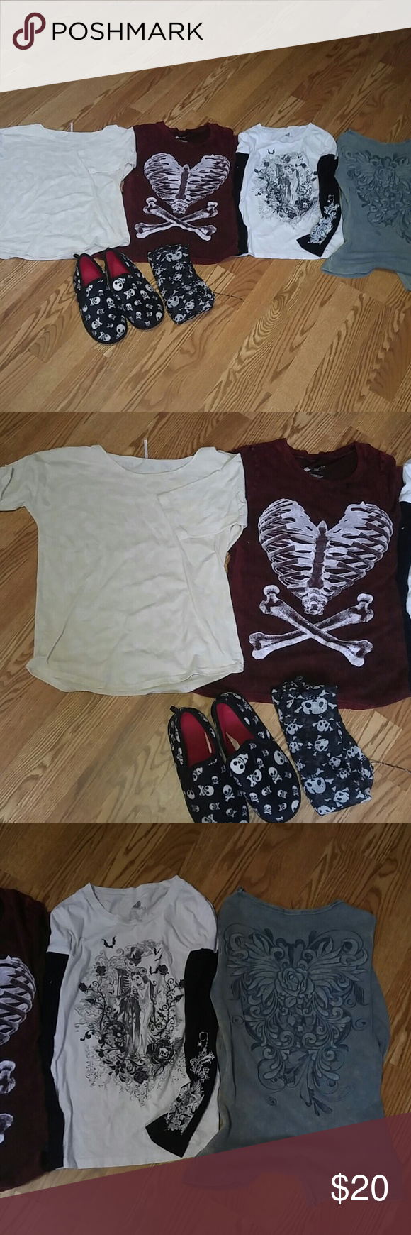 Skull top bundle Four tops  Med Cream colored with white skulls worn maybe twice Heart bone smallworn has few holes in collar but good shape Long sleeve worn but still cute Long sleeve thermal size large is worn spotted a hole in sleeve but still super cute and warm. Shirt for every season Plus skull slippers (sm) tried on several times never used And a scarf  All tops diff size but would fit sm med comfortably. Tops