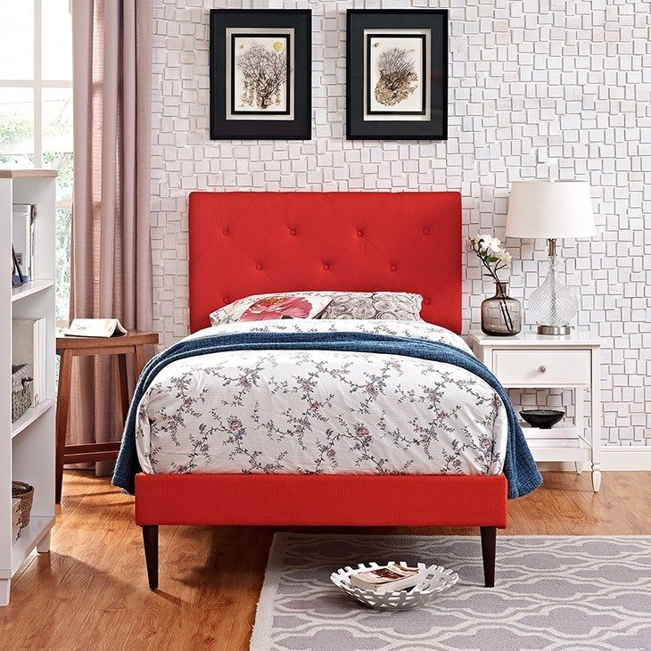 Terisa Twin Fabric Platform Bed with Round Tapered Legs in
