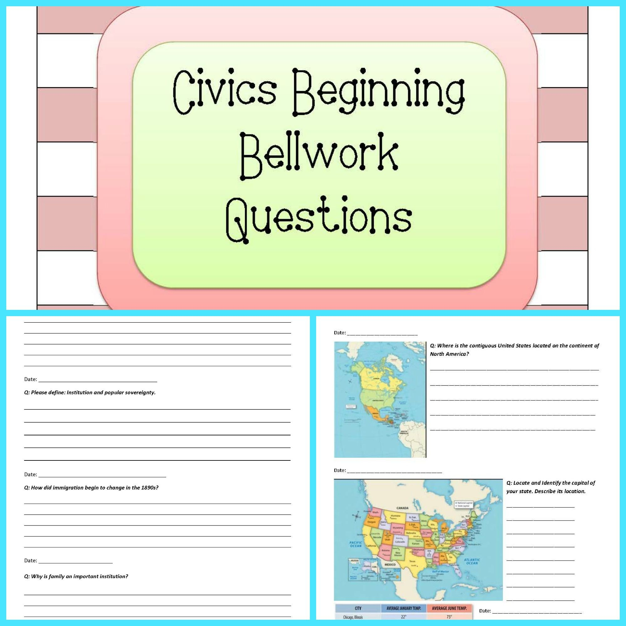 A Whole Journal For Bellwork Bellringer Questions Based On