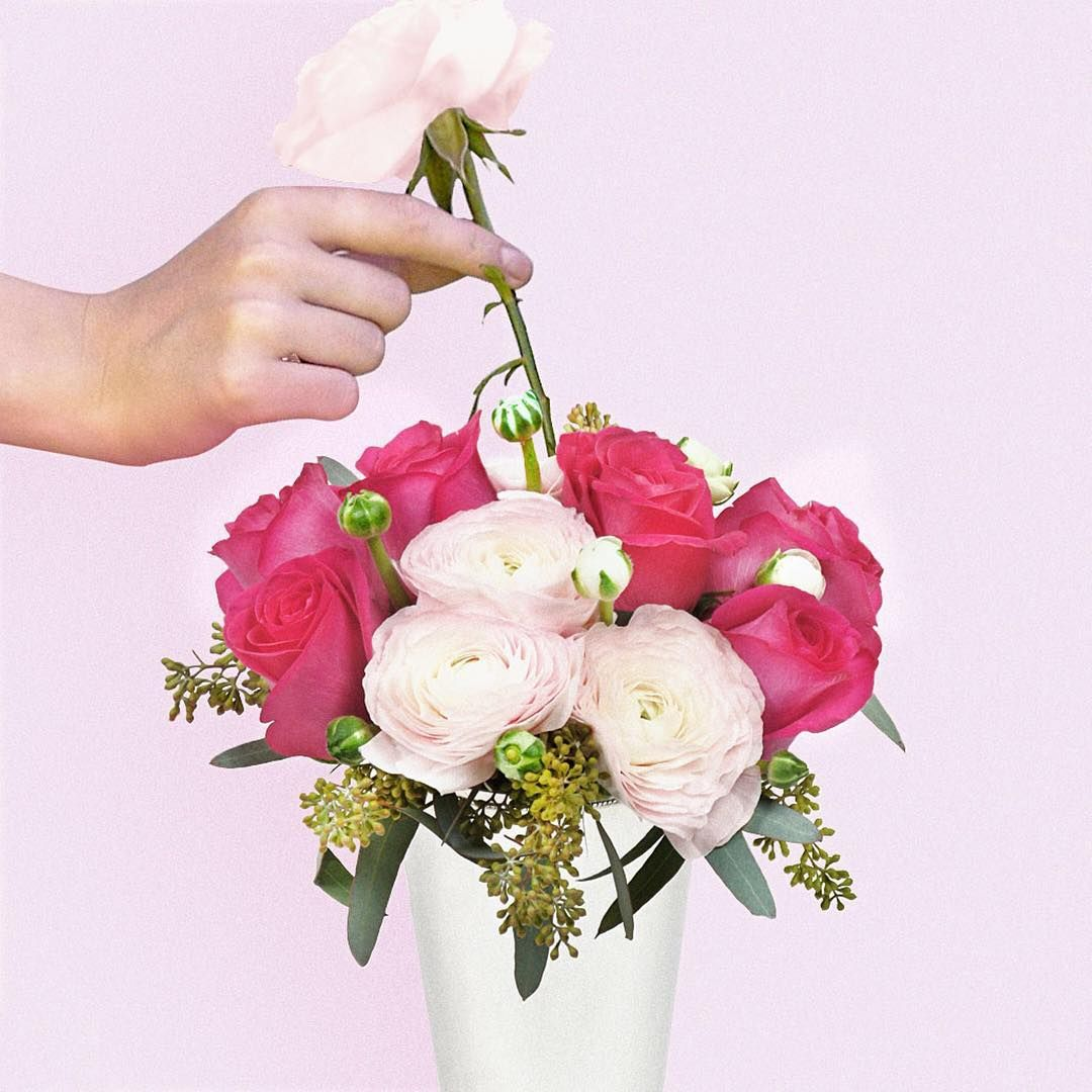 Welcome Your Workweek With Our Rosie Bouquet This Understated Arrangement Of Hot Pink Roses Pastel Ranunculus Hot Pink Roses Colorful Garden Spring Blooms