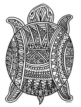 detailed turtle coloring pages for adults detailed elephant - Turtle Coloring Pages For Adults