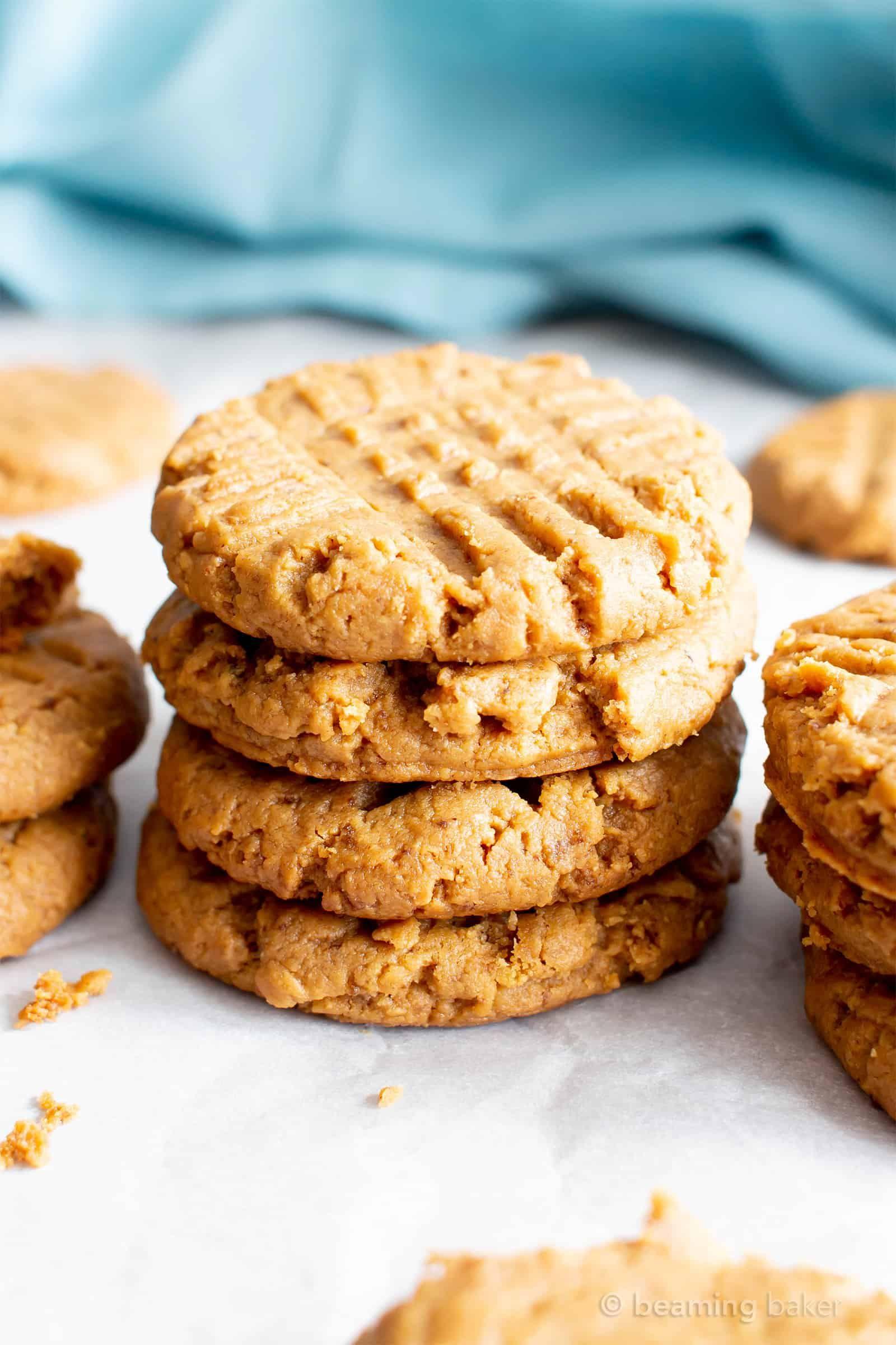 4 ingredient gluten free soft peanut butter cookies v gf