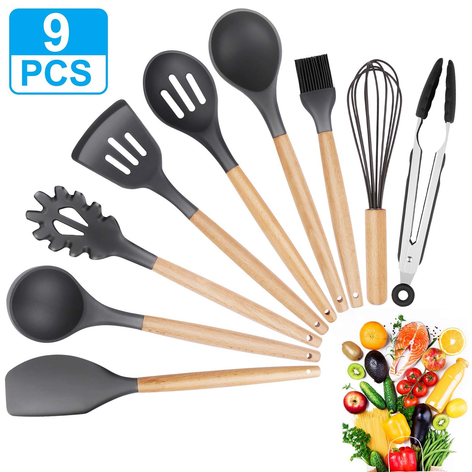 Kitchen Utensil Set 9pcs Silicone Cooking Tools Beech Wooden